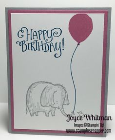 He is so cute!!! I created this card using Love You Lots, Better Together and Balloon Celebration stamp sets from Stampin' Up!. You could make this for any occasion I did it for a birthday.