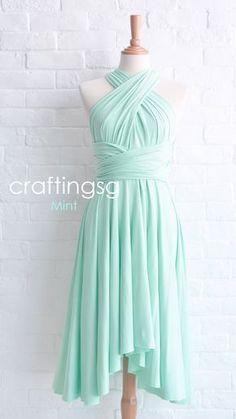 Bridesmaid Dress Infinity Dress Mint Knee Length by craftingsg