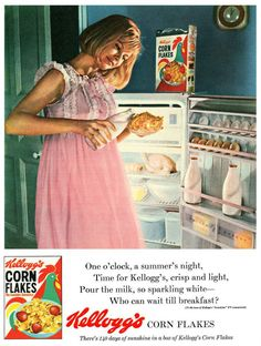 1965 Kellogg's Corn Flakes ad <--- They even have instructions for the tune. Old Advertisements, Retro Advertising, Retro Ads, Retro Food, 1960s Food, School Advertising, Retro Recipes, Vintage Recipes, Vintage Prints