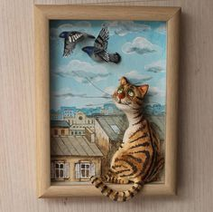 ideas cats crafts clay for 2019 Polymer Clay Animals, Polymer Clay Art, Cat Face Drawing, Black Cat Tattoos, Clay Cats, Art Painting Gallery, Cat Quilt, Watercolor Cat, 3d Wall Art