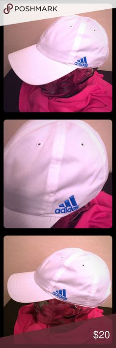 🆕 ONLY 1! Adidas Women's Halo Relaxed Cap Authentic Adidas Women's Halo Relaxed Cap. Women's Fit. Climalite. White with Blue Adidas Logos. One on the Left Front Side. The other on the Right near the Velcro Adjustable Back. Bill is White on the Top; Grey on the Flip Side with a Partial Grey Lining. 60% Cotton/40% Polyester. Brand New. Excellent Condition. No Trades. adidas Accessories Hats