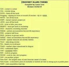 crochet slang terms- manywork for knitting too