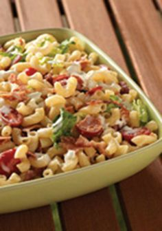 BLT Homestyle Macaroni Salad -- In just 20 minutes, this salad recipe is ready for the dinner table. A great side for a potluck or a cookout!