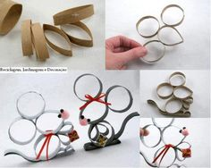 toilet paper roll mice Plus: Toilet Paper Roll Art, Toilet Paper Roll Crafts, Cardboard Crafts, Diy Paper, Kids Crafts, Cute Crafts, Crafts To Make, Holiday Crafts, Christmas Crafts