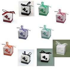 100 Love Heart  Wedding Favour  Boxes Party Sweets Boxes 10 Colours Choices