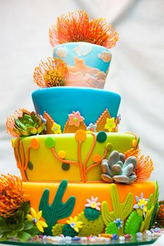 Colorful Santa Fe landscape wedding cake by Maggie's Cakes Brett Butterstein Photography