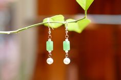 Subtle Jade Drop Earrings Vintage Beads Green Pearl by AdeleBeeAnn, $14.00