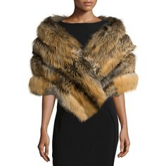 Gorski Fox Fur Stole w/Leather Insets ($2,655) ❤ liked on Polyvore featuring accessories, scarves, cross fox, fox stole, leather scarves, fox fur stole, wrap shawl and fox fur shawl