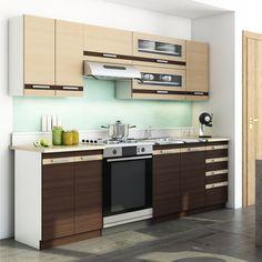 Cuisine Louksor astucieuse et complète, idéale pour aménager efficacement votre pièce et disposer d'un maximum de rangements pour votre vaisselle, vos aliments et vos produits ménagers