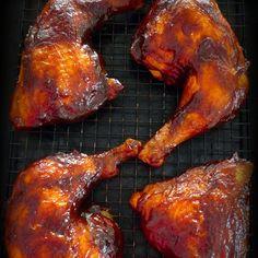 Simple BBQ'd Chicken Leg Quarters Recipe Main Dishes with chicken leg quarters, garlic powder, seasoning salt, ground black pepper, cooking spray, bbq sauce