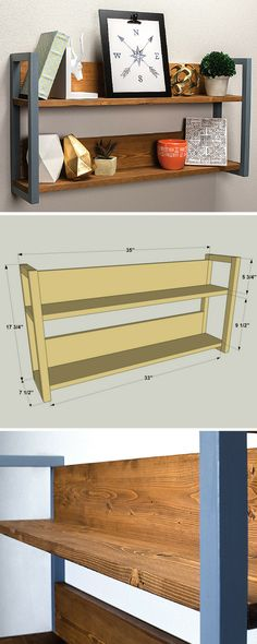 Create an attractive display area on any wall with this small double shelf unit that holds photos and other favorite items. It's super easy to build, and can easily be customized by changing up the stain or finish that you use. Get the free DIY plans at buildsomething.com