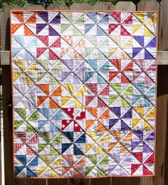 Rainbow Pinwheel Baby Quilt