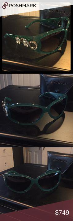 cbc13ac6fb85 Bvlgari Swarovski Crystal Flower RARE -Jade Green Authentic bvlgari  Swarovski sunglasses. Black lenses (