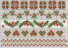 Christmas borders chart. Free sewing pattern graph for cross stitch or plastic canvas.