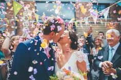 Vibrant Confetti Exit | Laure de Sagazan Wedding Dress | Colourful Wedding At Paintworks Bristol | Flowers By The Rose Shed | Images From Matt Willis Photography | http://www.rockmywedding.co.uk/rachel-alex-3/