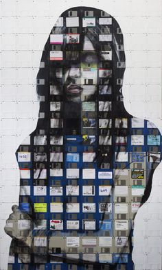 Nick Gentry, collage with floppy discs