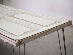 Upcycled table made with an old door
