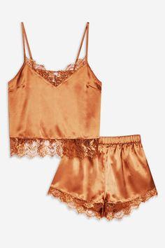 Look lovely in this delicate lace insert satin pyjama set in rust. Cute Sleepwear, Sleepwear Women, Pajamas Women, Lingerie Sleepwear, Lingerie Set, Nightwear, Satin Lingerie, Cute Pajama Sets, Satin Pyjama Set