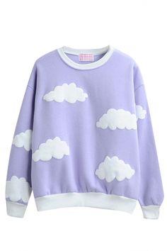 Round Neck Long Sleeve Cloud Print Sweatshirt
