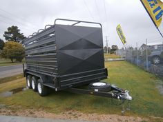 A1 Trailers Bairnsdale. Tri axle utility trailer with removable livestock crate.