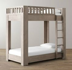 In weathered white or sandwashed gray finishes, RH Baby & Child's Callum Bunk Bed ($1,999) has a platform-style bottom bunk, chunky corner posts, and two full-sized beds, perfect for growing kids.
