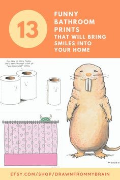Add some smiles to your bathroom with this collection of funny and whimsical art prints! There's a full range of bathroom humor to choose from, including cute prints, weird art, and funny animal prints. Your bathroom interior will never be the same! They're also great for birthday gifts, dorm decor, and funny cubicle decor at the office. #etsy #bathroomart #bathroomdecor #bathroomideas #toilethumor