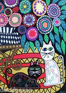 Mexican Folk Art Black Cat Table Flowers Rug AMBROSINO ACEO Canvas Print