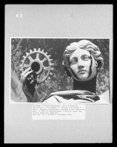 Allegorie der Industrie, Detail: Kopf und rechte Hand mit Zahnrad, 1872