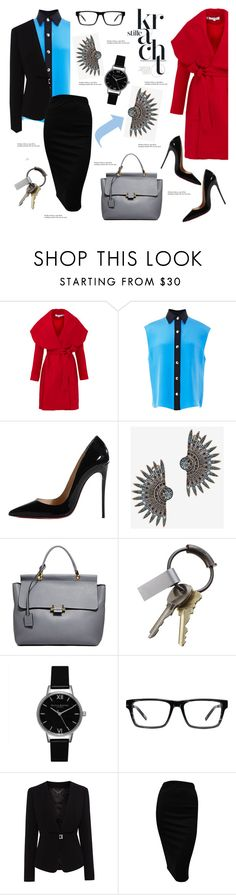 """Red coat"" by cly88 ❤ liked on Polyvore featuring Keepsake the Label, FAUSTO PUGLISI, Christian Louboutin, Lulu Frost, Lanvin, CB2, Olivia Burton, Spy Optic, Karen Millen and Tiffany & Co."