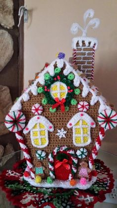 Handmade Crochet Christmas Holiday GINGERBREAD HOUSE.  Found finished item on eBay.  For inspiration.