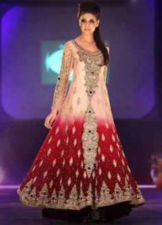 Tea Pink/Deep Red Crinkle Chiffon Anarkali Dress by PakRobe.com
