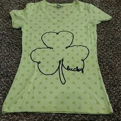 St Pattie's day v neck Lime green shirt with glitter clover. Bought to wear for the holiday and haven't worn it since. Tops Tees - Short Sleeve