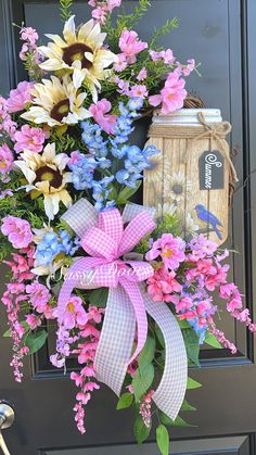 Spring Wreath, Mother's Day Wreath, Grapevine Wreath, Spring And Summer Wreath Wreath Crafts, Diy Wreath, Grapevine Wreath, Wreath Ideas, Spring Door Wreaths, Summer Wreath, Patriotic Wreath, 4th Of July Wreath, Mothers Day Wreath