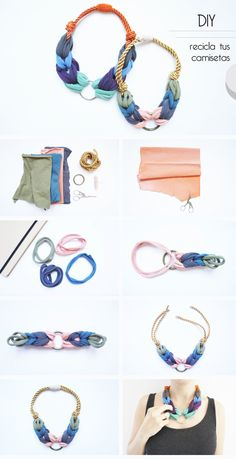 Diy Necklace Macrame, Fabric Necklace, Textile Jewelry, Fabric Jewelry, Jewelry Crafts, Handmade Jewelry, Scrap Fabric Projects, Diy Schmuck, Creations