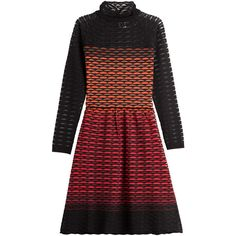 M Missoni Ombré Sweater Dress (1,610 SAR) ❤ liked on Polyvore featuring dresses, multicolor, pleated dress, high neck long sleeve dress, colorful dresses, form fitting dresses and red sheer dress