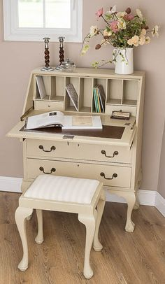 Painted Writing Vintage Bureau with Storage