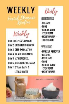 Beauty Routine Skin Care - Weekly Skincare Routine | Facial Routine | Exfoliation | Facial brush | Face Cleanser | Diy Face Scrub A good exfoliation is essential to clean the skin and eliminate dead cells. This prevents dirt from clogging pores and acne o #facialcleanserbrush