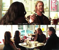 "Thor, I share your reaction to coffee. ;)      ""this is going on facebook.  Smile!"" XD"