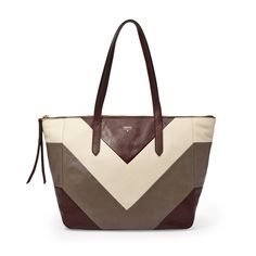 Fossil Sydney Shopper in Raisin chevron