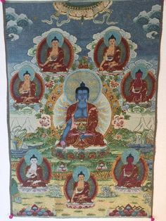 Eight Medicine Buddhas Tibetan Thangka