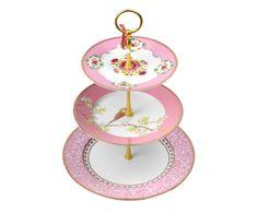 Prato para Doces em Porcelana Mix - Rosa