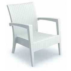 """""""30"""""""" Miami Wickerlook Resin UV-Treated and Stackable Unwoven Patio Club Chairs – Set of 2″"""