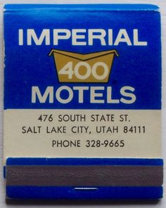 Imperial 400 Motels #frontstriker #matchbook - To Order your business' own branded #matchboxes or #matchbooks GoTo:www.GetMatch... or CALL 800.605.7331 to get the quick & painless process started today!