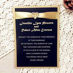 Luxrious Rhinestone Satin Ribbon Black Layered Wedding Invitations Ewli013 As Low 1 72 Fall Colors