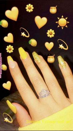 5 Amazing Yellow Nail Art Designs Color Combos for 2019 : Take a look! If you are looking for a lovely Nail Art Design for your long nail, you should give an eye to the collection we have got over here. Acrylic Nails Yellow, Yellow Nail Art, Cute Acrylic Nails, Matte Nails, Glitter Nails, Fun Nails, Yellow Nails Design, Nagel Blog, Nail Tattoo