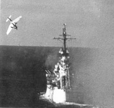 Japanese Mitsubishi Ki-51 light bomber attempts a Kamikaze (Divine Wind) suicide attack on the USS Columbia in Lingayen Gulf, Philippine Islands - 6th of January 1945.
