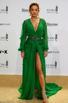 Wow factor: Rita Ora led the stars at Wednesday's ECHO Music Awards in Berlin, dressed to kill in a racy green gown