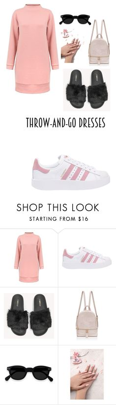 """throw and go dreses"" by kyleigh11506 ❤ liked on Polyvore featuring adidas Originals, The White Brand and Static Nails"