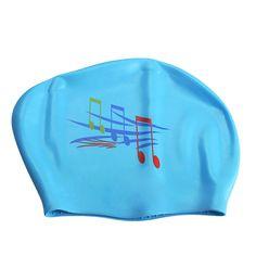 New Note Silicone Swimming Long Hair Cap Ear Wrap Waterproof Hat Sky Blue B2C Shop
