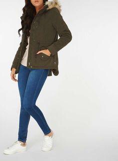 Womens **Only Khaki 'Lucca' Parka Coat- Khaki